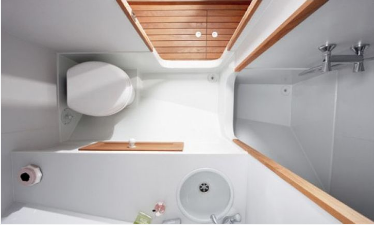 Picture of boat head with upgraded toilet installation.